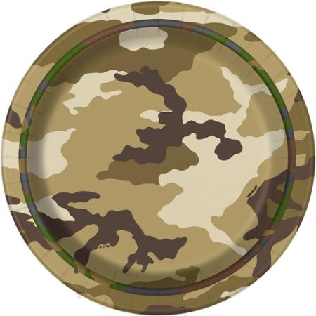 MILITARY CAMO LUNCH PLATES - PACK OF 8
