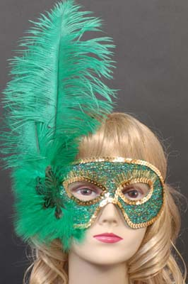 MASK - OSTRICH FEATHER GREEN