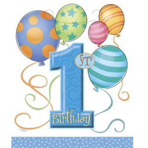 BALLOON DESIGN 1ST BIRTHDAY BOY LOOT BAGS - PACK OF 8