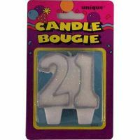 21ST BIRTHDAY CANDLE - SILVER & WHITE