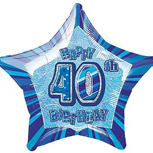 GLITZ BLUE 40TH BIRTHDAY FOIL BALLOON