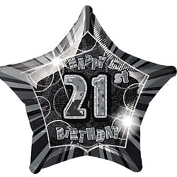 GLITZ SILVER & BLACK FOIL 21ST BIRTHDAY BALLOON