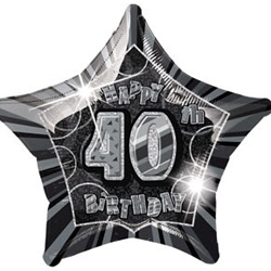 GLITZ SILVER & BLACK FOIL 40TH BIRTHDAY BALLOON