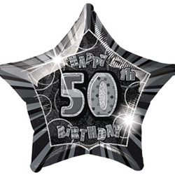 GLITZ SILVER & BLACK FOIL 50TH BIRTHDAY BALLOON