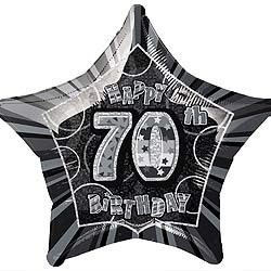 GLITZ SILVER & BLACK FOIL 70TH BIRTHDAY BALLOON