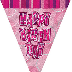GLITZ PINK HAPPY BIRTHDAY FLAG BUNTING 3.6M