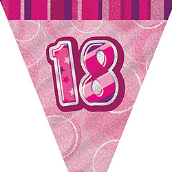 GLITZ PINK 18TH BIRTHDAY FLAG BUNTING 3.6M