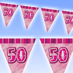 GLITZ PINK 50TH BIRTHDAY FLAG BUNTING 3.6M