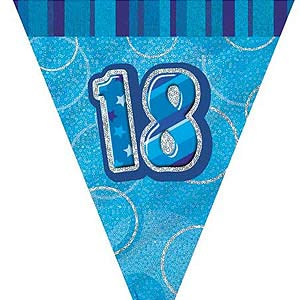 GLITZ BLUE 18TH BIRTHDAY FLAG BUNTING 3.6M