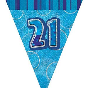 GLITZ BLUE 21ST BIRTHDAY FLAG BUNTING 3.6M