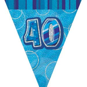 GLITZ BLUE 40TH BIRTHDAY FLAG BUNTING 3.6M