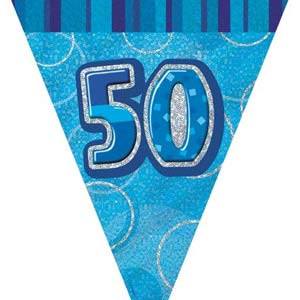 GLITZ BLUE 50TH BIRTHDAY FLAG BUNTING 3.6M