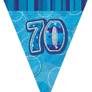 GLITZ BLUE 70TH BIRTHDAY FLAG BUNTING 3.6M