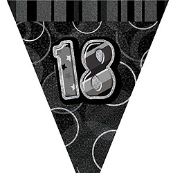 GLITZ SILVER & BLACK 18TH BIRTHDAY FLAG BUNTING 3.6M