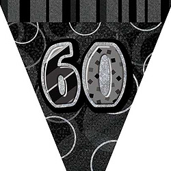 GLITZ SILVER & BLACK 60TH BIRTHDAY FLAG BUNTING 3.6M