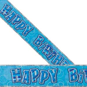 GLITZ BLUE HAPPY BIRTHDAY BANNER 3.6M