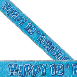 GLITZ BLUE 18TH BIRTHDAY BANNER 3.6M