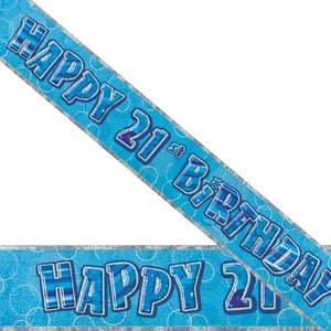 GLITZ BLUE 21ST BIRTHDAY BANNER 3.6M