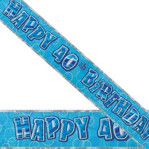 GLITZ BLUE 40TH BIRTHDAY BANNER 3.6M