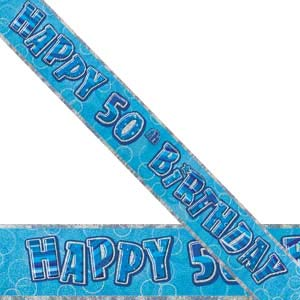 GLITZ BLUE 50TH BIRTHDAY BANNER 3.6M