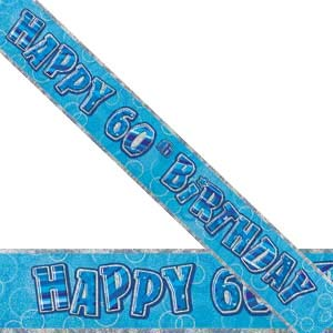 GLITZ BLUE 60TH BIRTHDAY BANNER 3.6M