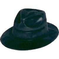 GANGSTER HAT - BLACK PLASTIC FELT FEEL
