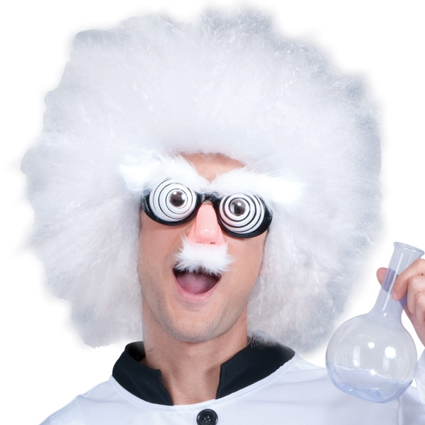 MAD SCIENTIST WIG WITH GLASSES, NOSE, EYEBROWS & MO