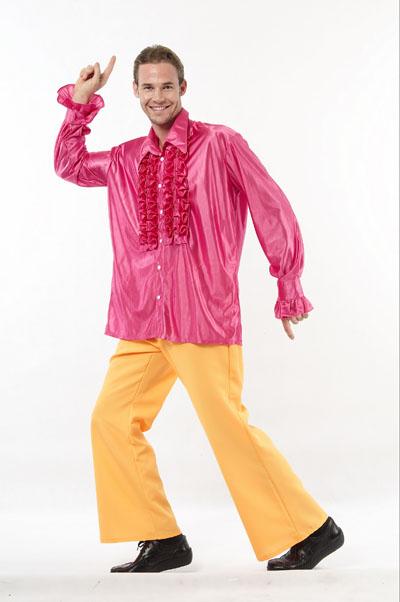 1970'S MAGENTA DISCO FANCY DRESS SHIRT