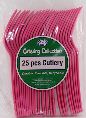 DISPOSABLE CUTLERY - MAGENTA FORKS PK 25