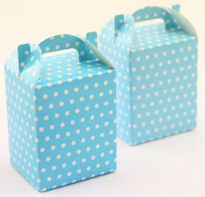 PALE BLUE POLKA DOT NOODLE BOXES PK 6