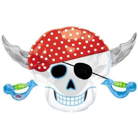 FOIL SUPER SHAPE BALLOON - PIRATE SKULL & CROSS BONE