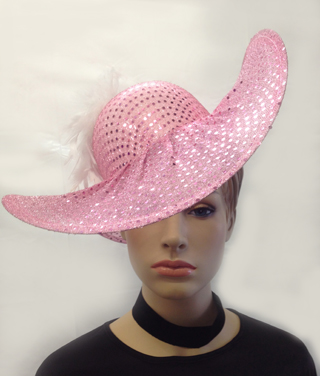 Image of Ladies Glitter & Feathered Hat In Red, Black Or Pink