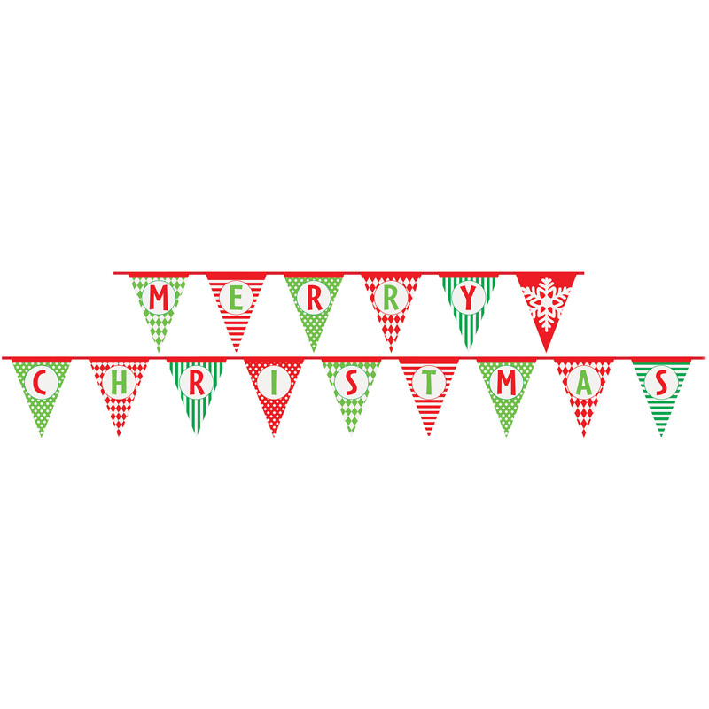 NATURAL LARGE FLAG PAPER BUNTING - MERRY CHRISTMAS