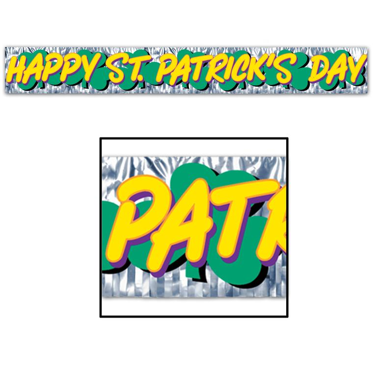 ST PATRICKS DAY METALLIC FRINGE BANNER