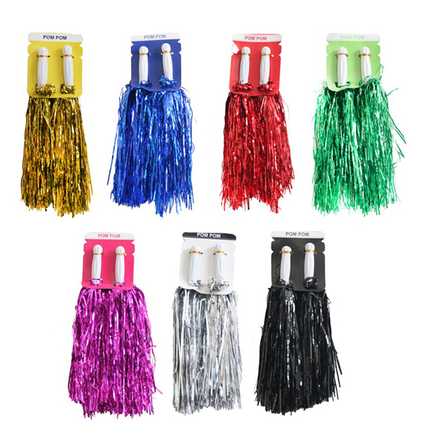 CHEERLEADER METALLIC POM POMS WITH HANDLE - CHOICE OF 7 COLOURS