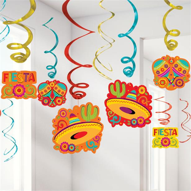 MEXICAN FIESTA HANGING SWIRL DECORATION MEGA 30 PIECE KIT