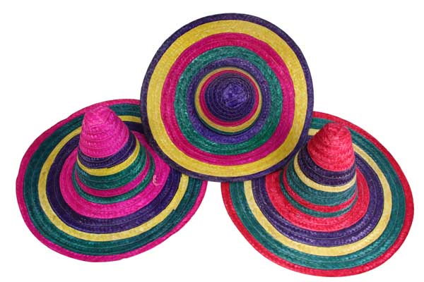 MEXICAN SOMBRERO - COLOURFUL SERAPE BANDS