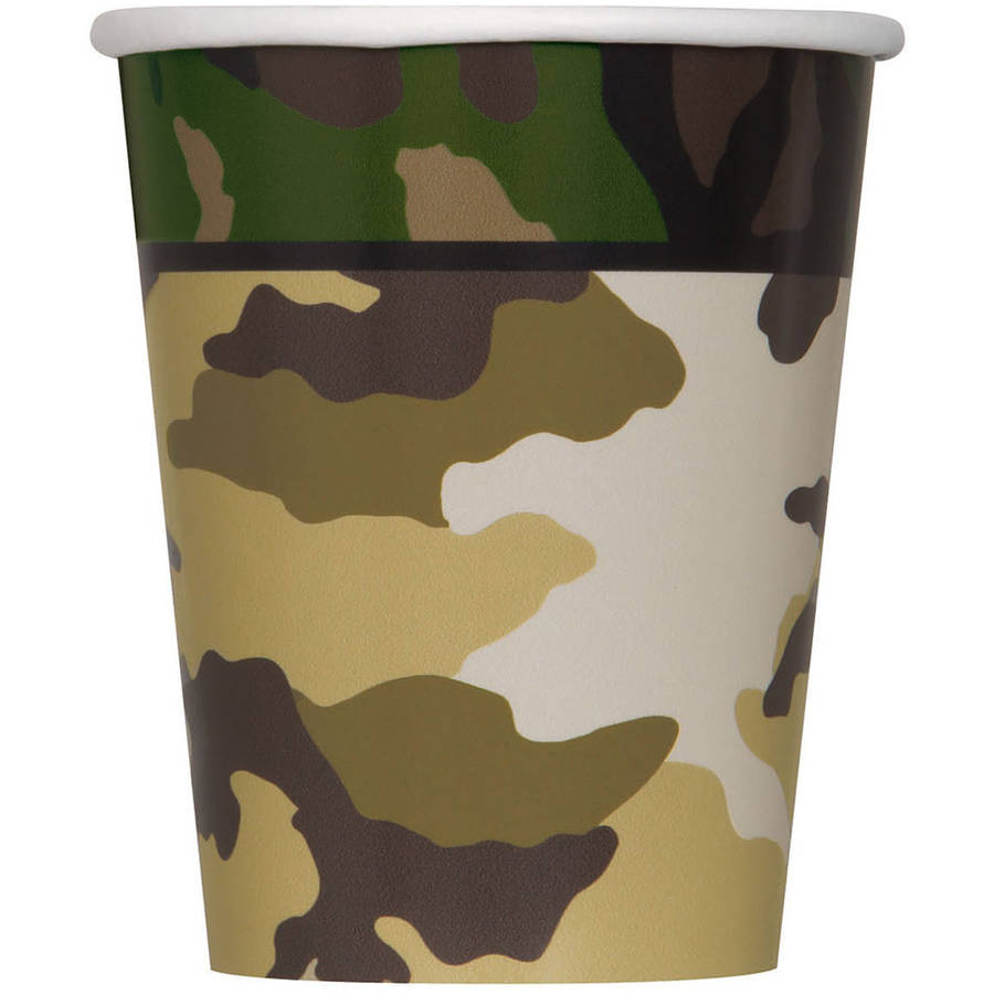 MILITARY CAMO CUPS - PACK OF 8