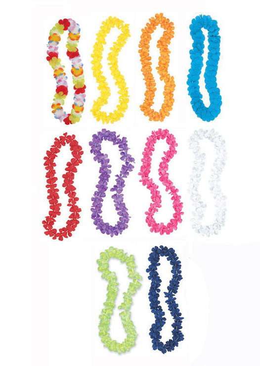 HAWAIIAN FLOWER LEIS - CHOICE OF 10 COLOURS