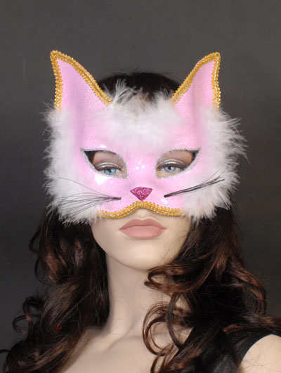 MASK - PINK GLITTER & FEATHER CAT