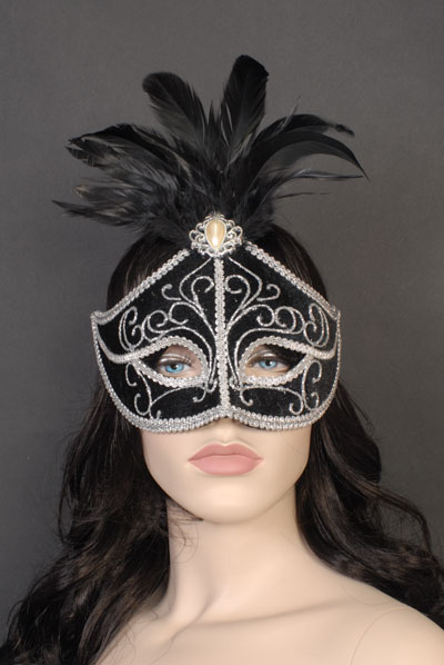 MASK - BLACK WITH SILVER TRIM & FEATHERS