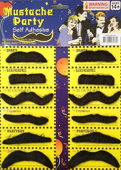 MOUSTACHES - SMALL BLACK PACK OF 3