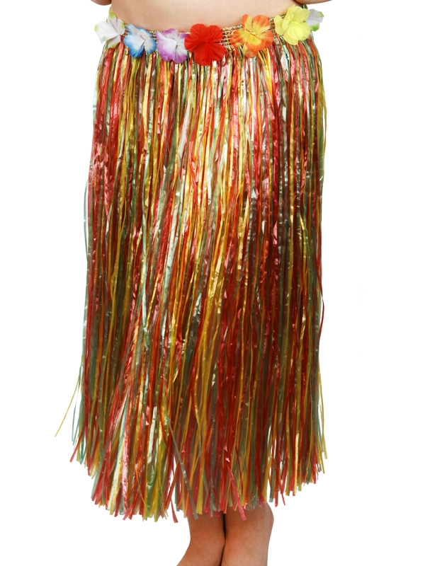 HAWAIIAN HULA SKIRT LONG - MULTI COLOURED SKIRT FLOWERED WAIST