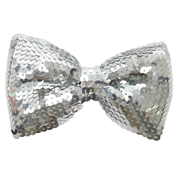 SEQUINNED BOW TIE - SILVER