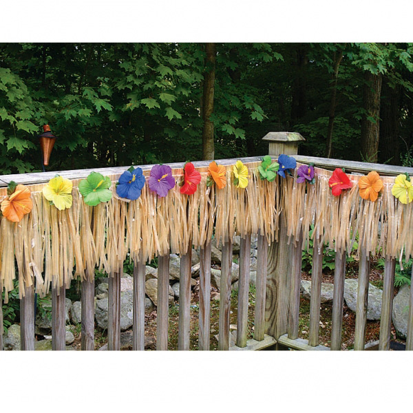 DECK FRINGING - NATURAL COLOUR HAWAIIAN WITH FLOWERS