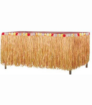 TABLE SKIRTING - NATURAL COLOUR LUAU TROPICAL HAWAIIAN