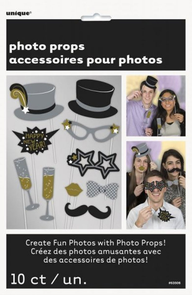 SELFIE PHOTO BOOTH PROPS - NEW YEARS PACK OF 10