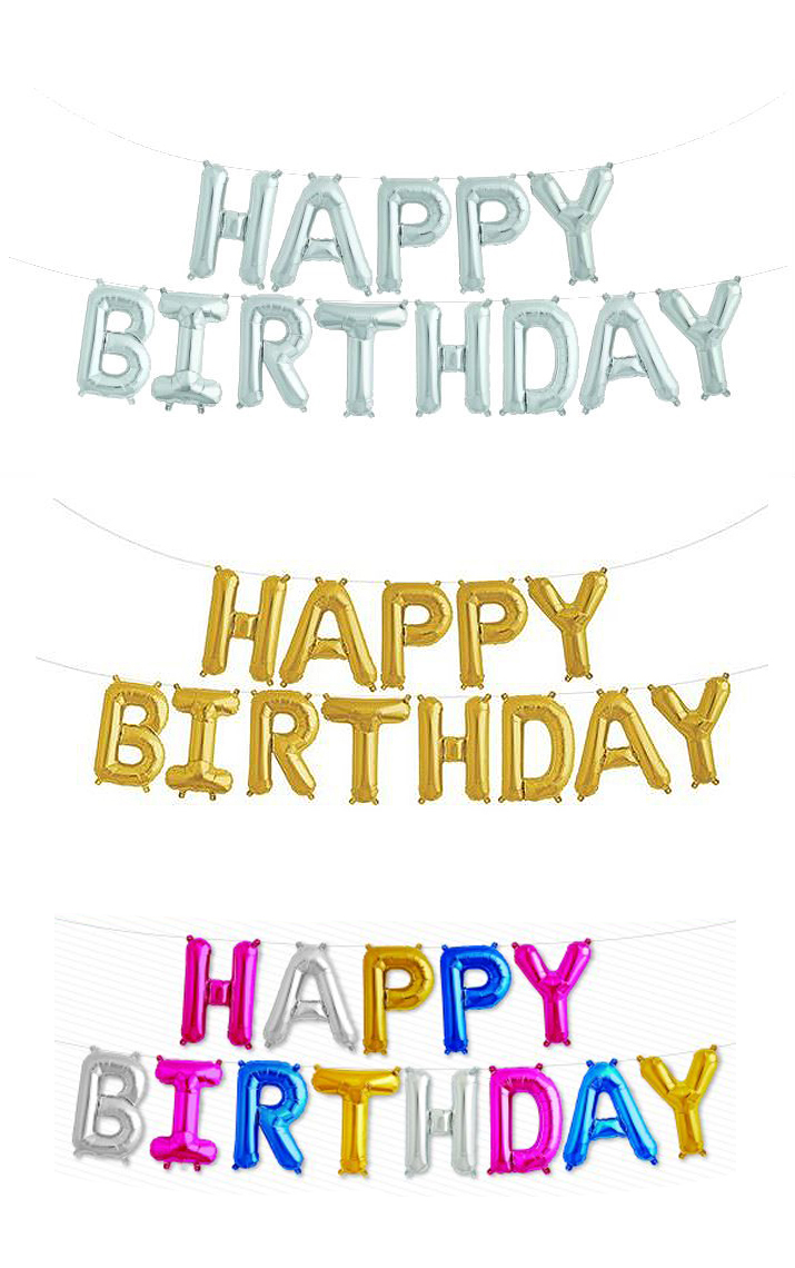 FOIL BALLOON KIT - AIR FILLED 'HAPPY BIRTHDAY' GARLAND STRING