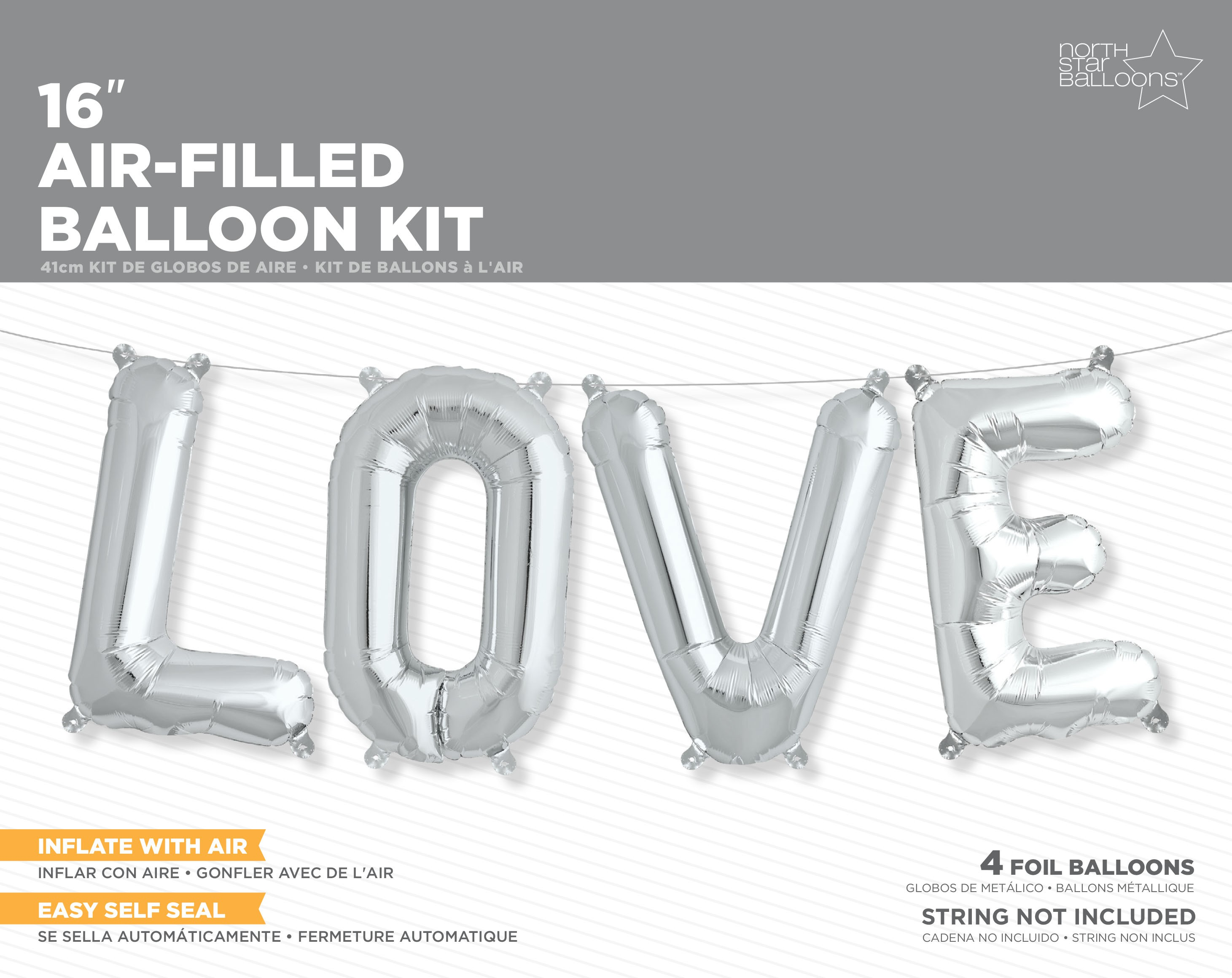 BALLOON KIT - AIR FILLED SILVER 'LOVE' STRING