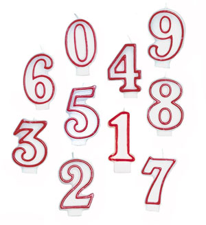 NUMERICAL CANDLES - WHITE WITH RED PIPING - NUMBERS 0-9